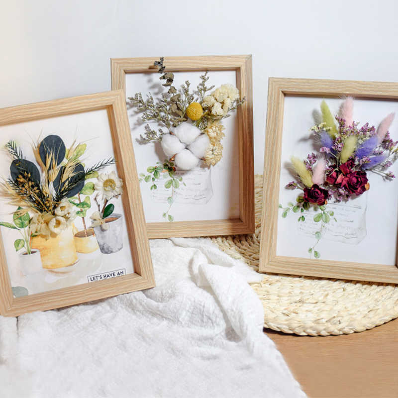 Nordic Ins Simulation Flower Photo Frame Small Ornaments 3d Dried Flowers Home Frame Decoration Plant Specimen Wall Hanging Frame Aliexpress