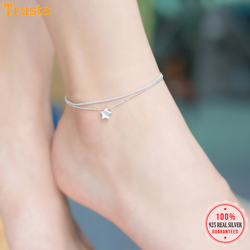 Trustdavis 925 Sterling Silver Fashion Double Layer Star Anklets For Women Girls Lady Silver 925 Jewelry Gift Wholesale DS602