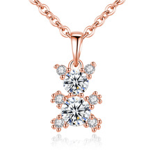 Fashion Popular Zircon Rose Gold/White Bear Pendant Simple Personality Bear Necklace Chains Necklace