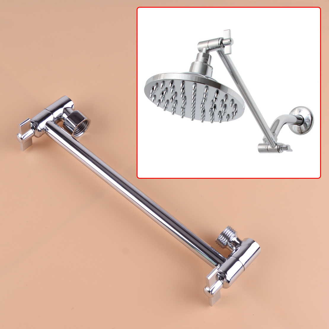 Rod Extension Shower-Head Wall-Mounted Adjustable for Universally Connecting Rotate-Joint