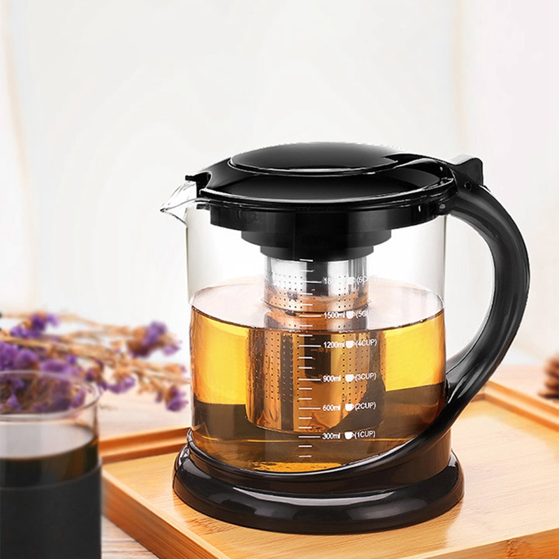 1800Ml Large Glass Tea Pot for Puer Tea Party Oolong with Stainless Steel Tea Infuser Kettle Heated Container Teapots
