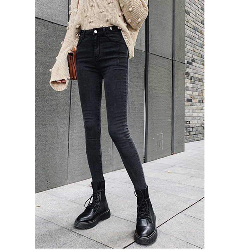 JUJULAND  Autumn High Waist Slim Ladies Jeans Button Fly Elastic Waist Legging Jeans Plus Size Stretchy Black Women Jeans 9802