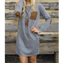 Autumn Casual Long Sleeve Women Dress Fashion Round Neck Sweatshirt Dresses
