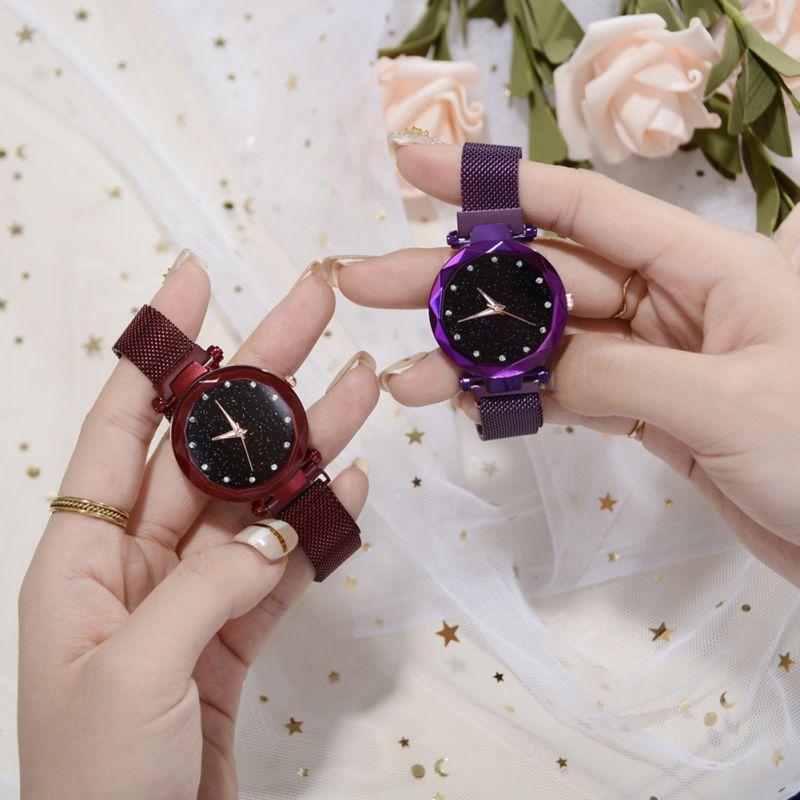 Fashion Women Watches Prismatic Glass Scale Starry Sky Stainless Steel Bracelet Mesh Band Quartz Wrist Watch