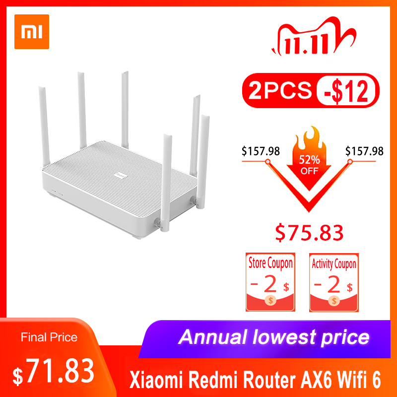 Xiaomi Redmi Router AX6 Router Dual Bands 2 4G 5 0G WiFi 6 Antennas Support 248 MAX Terminal Devices Connection Gigabit Version