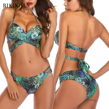 New Sexy Cross Waist Bandage Bikini Women Swimsuit Leaves Print Bathing Suit S-XL Girl Backless Halter Swimwear Micro Set