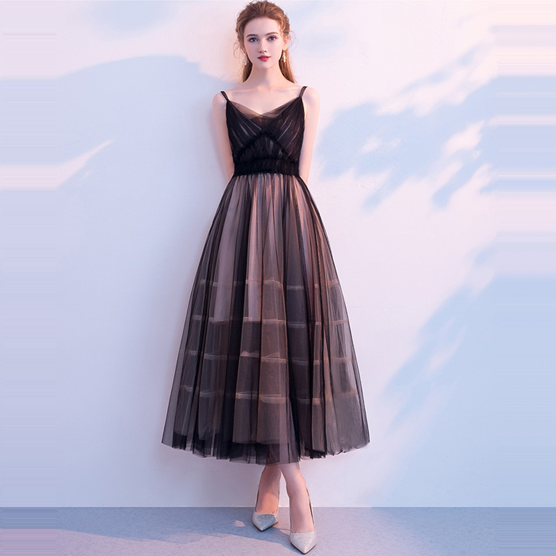Prom Dress 2019 Sleeveless V-Neck Black Fashion Designer Elegant Prom Gowns Party Dresses Sexy Sling Backless Formal Gown LX950