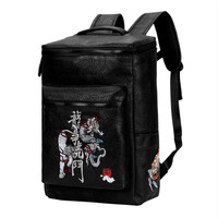 Chinese Style PVC Black Travel Backpacks Men Vintage Embroidered dragon and tiger School Backpacks Women