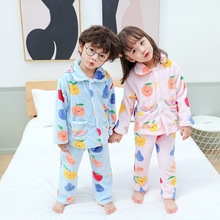 Children's flannel warm home service suit baby autumn and winter pajamas in children keep warm 2pcs/set christmas pajamas baby random printed pajamas suit in camel