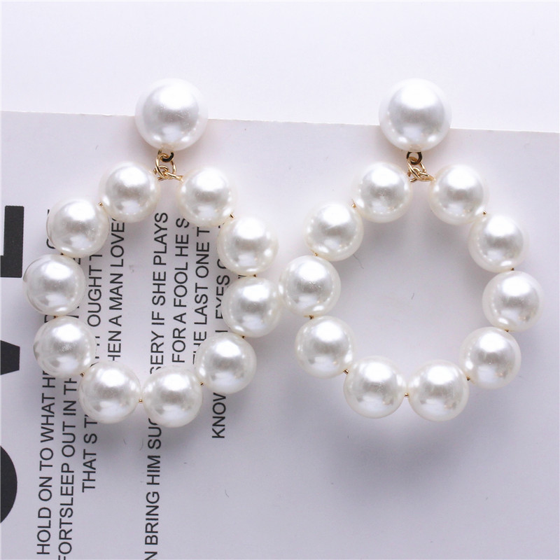 H964e6dc0f21944e98876e4f672e1c32cU - Fashion Simulated Pearl Statement Big Small Hoop Earrings for Women Exaggerate Circle Earrings Personality Nightclub Jewelry
