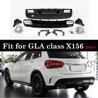 ABS Rear Diffuser with 4 Outlet Exhaust Tips For Benz GLA Class X156 Package Sport Edition 2015+