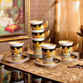 Роскошный фарфоровый набор кофейных чашек, европейская посуда, блюдо и блюдца, черная, золотая, чайная, костяная, особенность китайского тип...