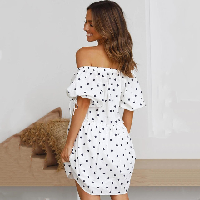 New 2021 Summer Sexy Women's Dress Slash Neck Loose Polka Dot Print High Waist Mini Dress Female Short Sleeve Femme Robe Vestido 5