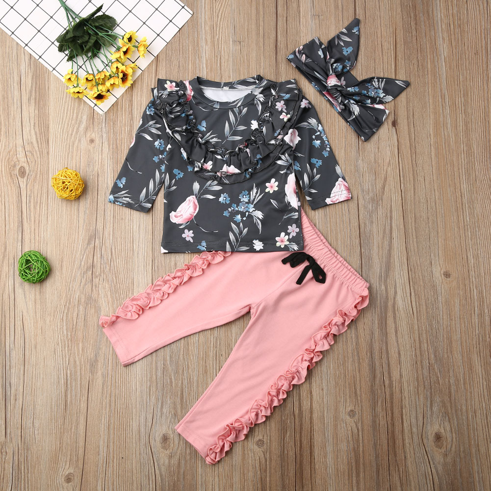 Pudcoco Newborn Baby Girl Clothes Flower Print Long Sleeve Tops Ruffle Solid Color Pants Headband 3Pcs Outfits Clothes Set