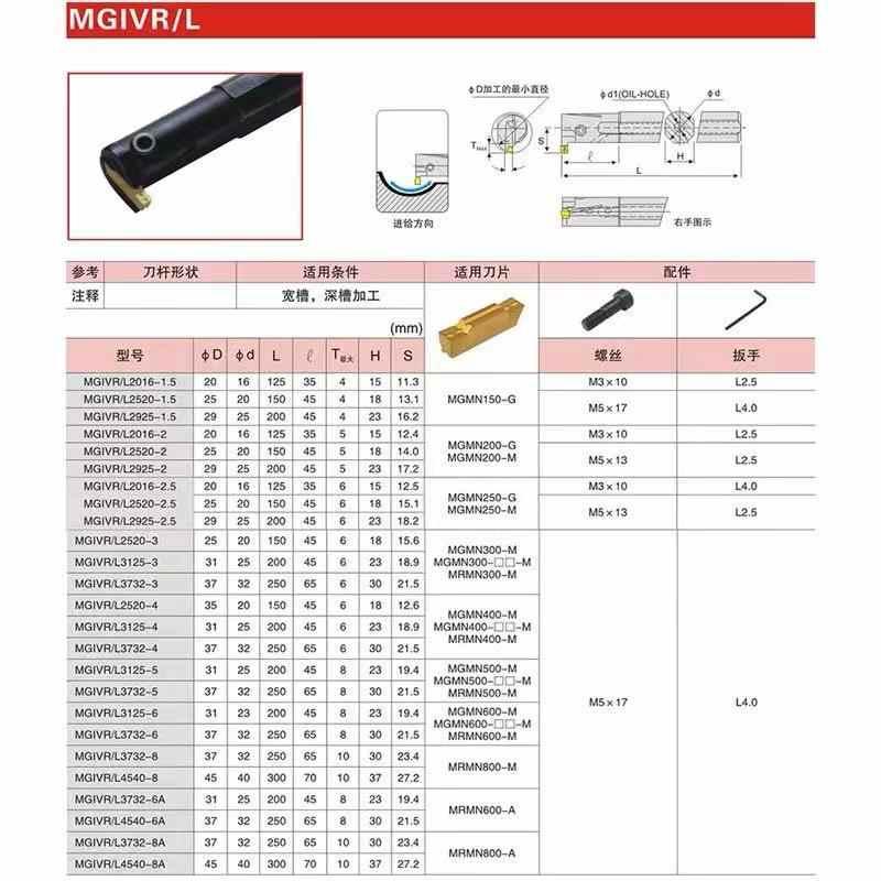 1PCS MGIVR2016-1.5 MGIVR2016-2 MGIVR2016-3 MGIVR2016-4 CNC foro torretta portautensili + 10PCS MGMN150 / 200/300/400 taglio strumenti