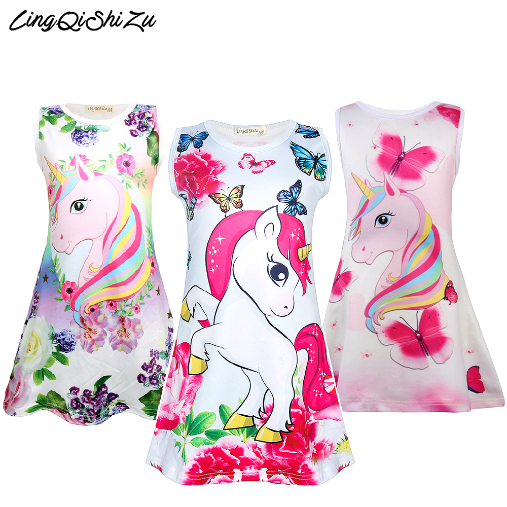 Kids Unicorn Dress Girl Cartoon Butterfly Flower Dress For Girls Soft Milksilk Clothes Kids Girl Pajamas 1710
