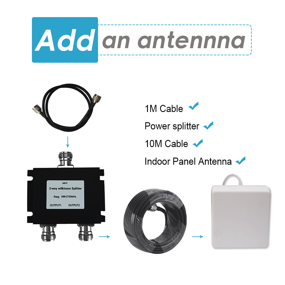 External Antenna Set Contians 2 Way Power Splitter Work For Upgrade 2G 3G 4G GSM Signal Repeater Kit Wide Coverage 700~2700mhz
