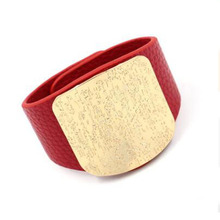 Popular Alloy Buckle Leather Bracelet 2019 Hot Exaggerated Geometric Wide Bracelet for Men Women Punk Jewelry Gift chic exaggerated alloy cuff bracelet for women