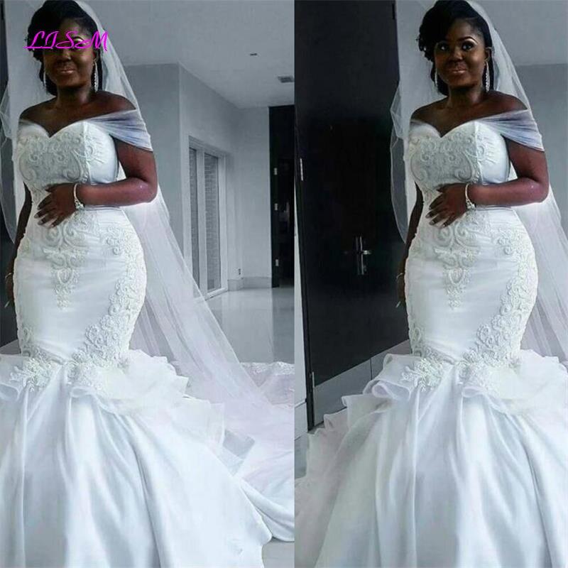 African Mermaid Embroidery Long Wedding Dresses Off Shoulder Satin Bridal Gowns Indian Vestido Noiva Plus Size Wedding Dresss