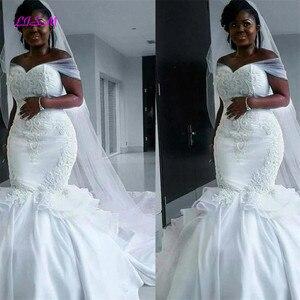Image 1 - African Mermaid Embroidery Long Wedding Dresses Off Shoulder Satin Bridal Gowns Indian vestido noiva Plus Size Wedding Dresss