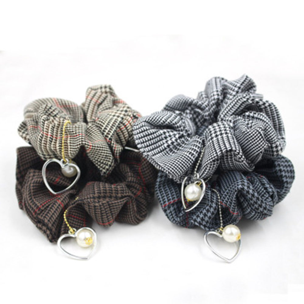 New Fashion Fall And Winter Houndstooth Fabric Hair Ring Hair Scrunchies Women Hair Tie Accessories Ponytail Holder