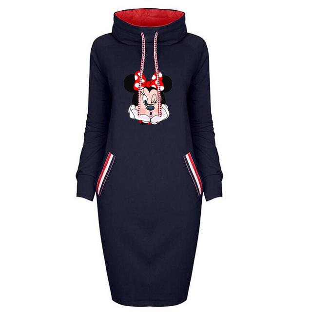 Dress Women Plus Size Cartoon Minnie Print Dresses Vintage Bodycon Clothes Party Casual Woman Black Short Dress