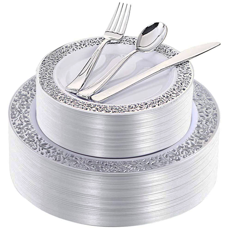 125pcs Silver Plastic Plates With Disposable Silverware, Elegant Lace Dinnerware Set For Weddings, Parties, For 20 Guests