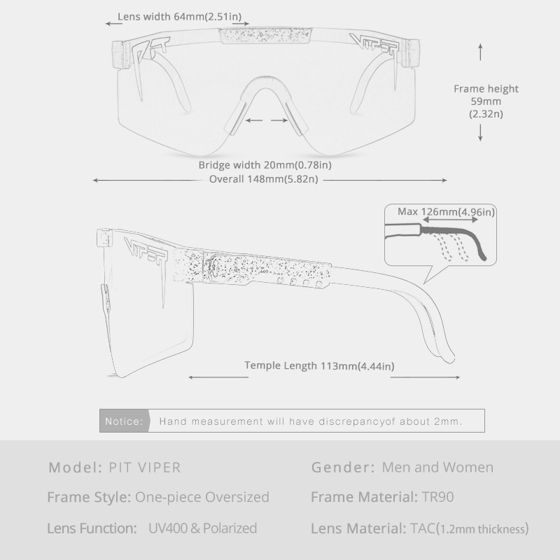 Rose red pit viper Sunglasses double wide polarized mirrored lens tr90 frame uv400 protection