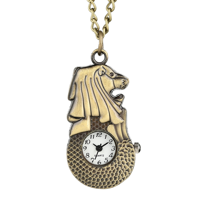 Top Famous Singapore Merlion Pattern Pocket Watch Chain White Dial Arabic Numerals Quartz Slim Pendant Necklace As Collectibles