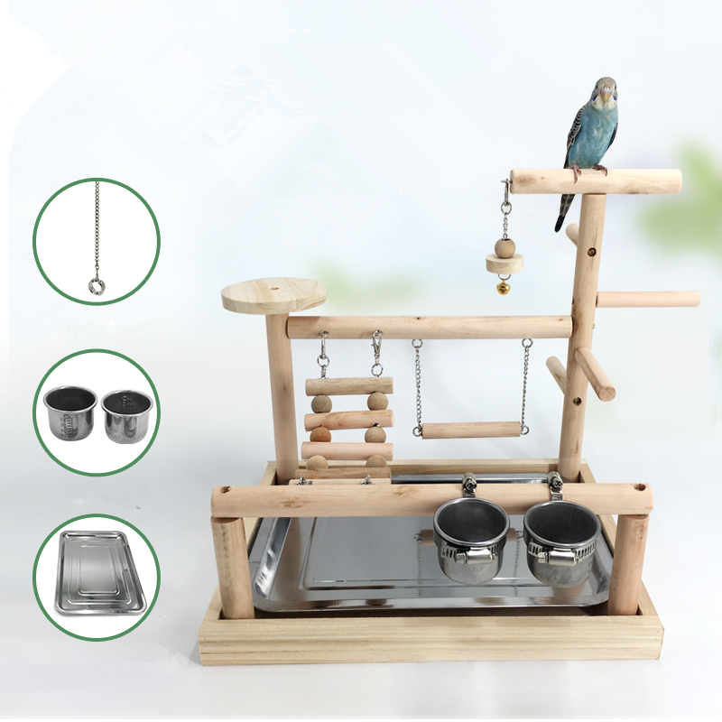 Bird Playground Wood Perch With Feeder Cups Gym Stand Platform Bird Exercise Ladders Cockatiel Dinner Table Toys Bird Foot Ring