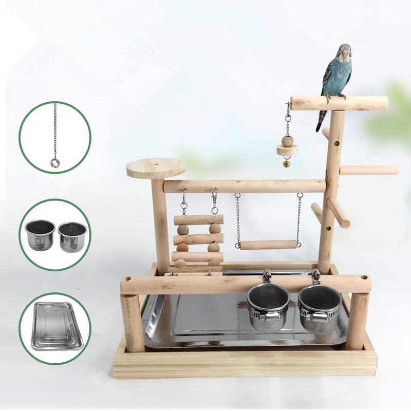 Oiseau aire de jeux bois perche avec mangeoire tasses Gym Stand plate-forme oiseau exercice échelles Cockatiel dîner Table jouets oiseau pied anneau