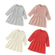 Вязаное платье для маленьких девочек осенне зимнее милое однотонное