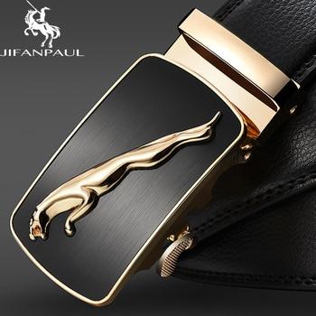 JIFANPAUL genuine leather men's simple belt fashion designer business new belt Jaguar pattern decorative alloy automatic buckle