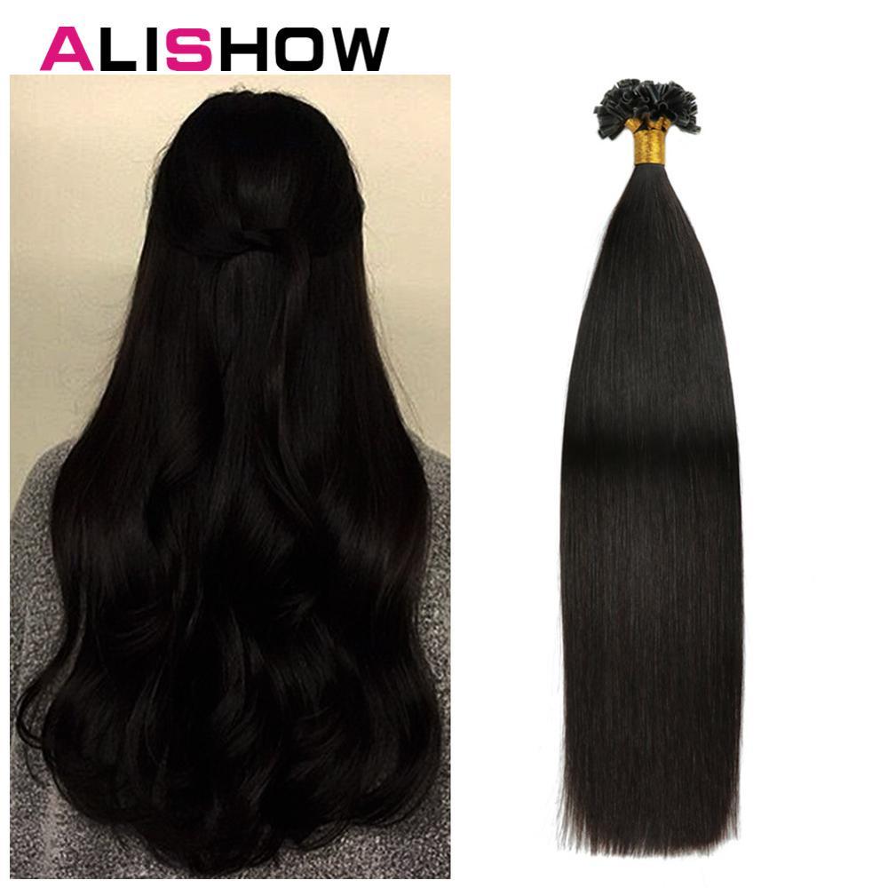 Alishow 50g  Remy Human Hair Nail U Tip Hair Extensions Straight Pre Bonded Hair On Keratin Capsules #2 Dark Brown 1g/Strand