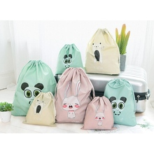 1PC Lovely Cartoon Drawstring Bag Portable Clothing Shoes Storage for Travel