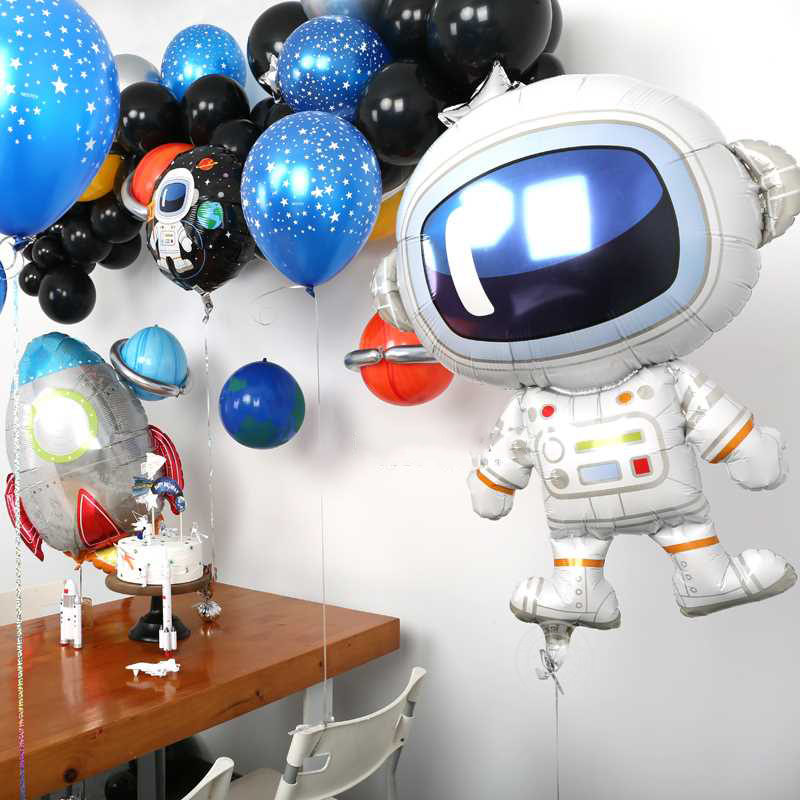 Astronaut Rocket Ship Foil Balloons Outer Space Party Galaxy Solar System Theme Party Supplies Birthday Party Decoration Kids