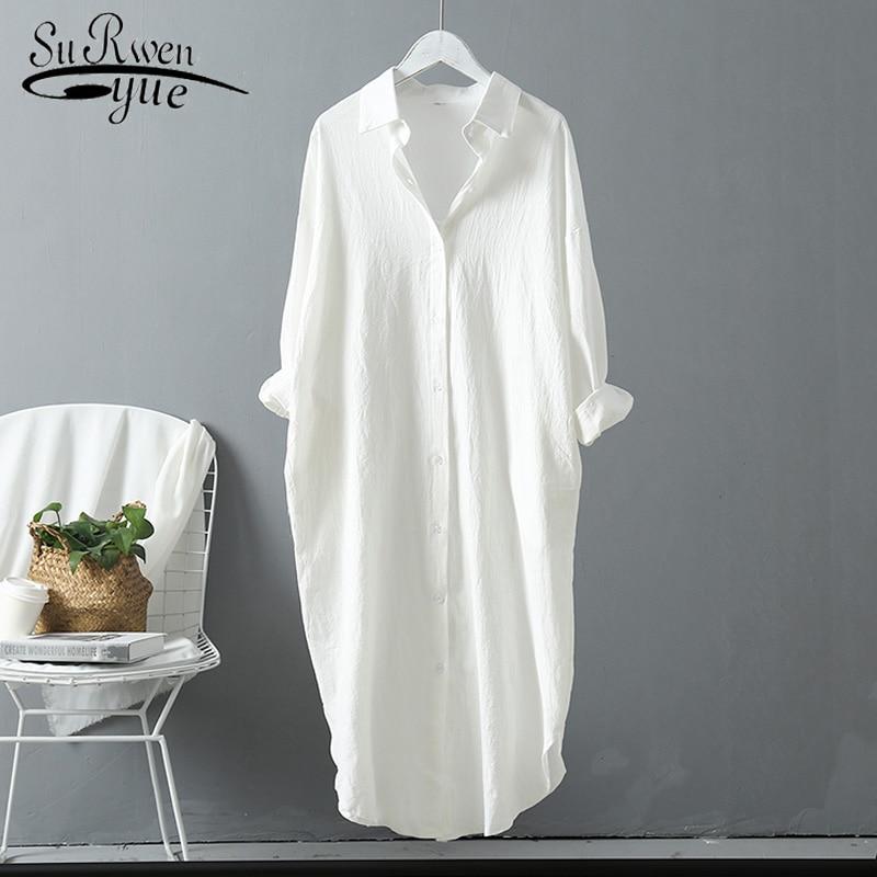 New Summer Cotton Women Blouses 2020 Long Section Shirts Plus Size Linen Cottons Casual White/Blue Women Ladies Tops 6793 50