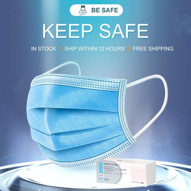 3 Layer المتاح أقنعة طبية غير المنسوجة الكبار مكافحة الغبار قناع جراحي الغبار قناع الحماية الأزرق قناع وجه طبي