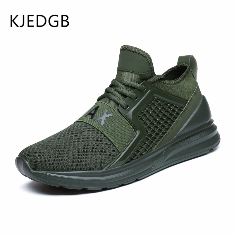 Image 5 - KJEDGB 2019 Breathable Mesh Men Sneakers Solid Black White Green Red Light Mens Casual Shoes size 39 47 Support Dropshipping-in Men's Casual Shoes from Shoes