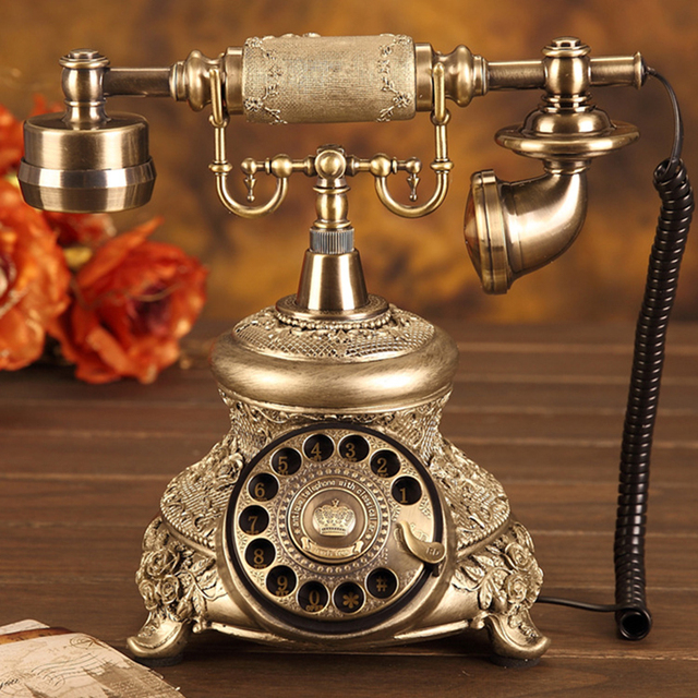 Antique Golden Corded Telephone Retro Vintage Rotary Dial Desk Telephone Phone with Redial, Hands free, Home Office Decoration