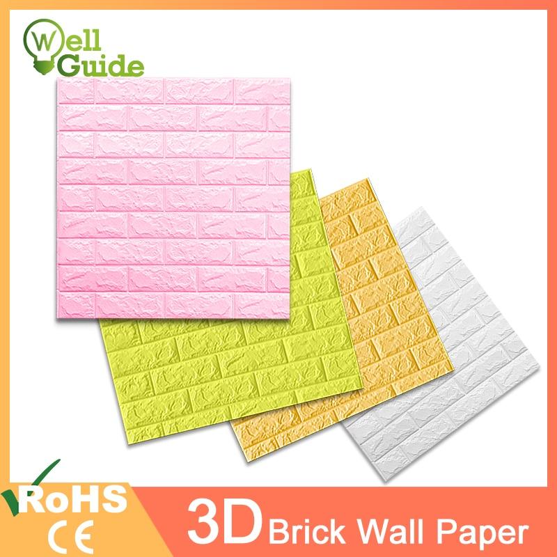 3D Wall Paper Marble Brick Waterproof Wall Paper DIY Self-Adhesive Paper Wallpaper 3D Decor For Living Room Bedroom Kids Room