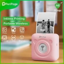 Новая версия PeriPage мини принтер Портативный Bluetooth 203 Точек на дюйм белая этикетка фото счета-фактуры, Беспроводной принтер A6 карманная машина