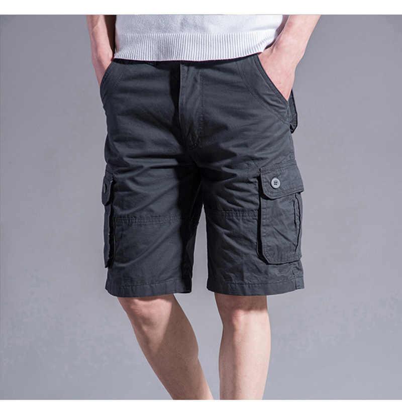 Szorty cargo mężczyźni fajne lato Khaki bawełna Casual Men krótkie spodnie odzież marki wygodne męskie szorty bojówki moro 46 dużych rozmiarów