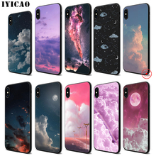 IYICAO Moon Star Cloud Night Soft Black Silicone Case for iPhone 11 Pro Xr Xs Max X or 10 8 7 6 6S Plus 5 5S SE