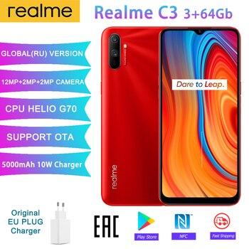 Realme C3 versión Global 3GB 32/64GB 6,5 ''teléfono móvil Helio G70 Octa Core 12MP Triple cámara móvil 5000mAh 10W cargador de la UE