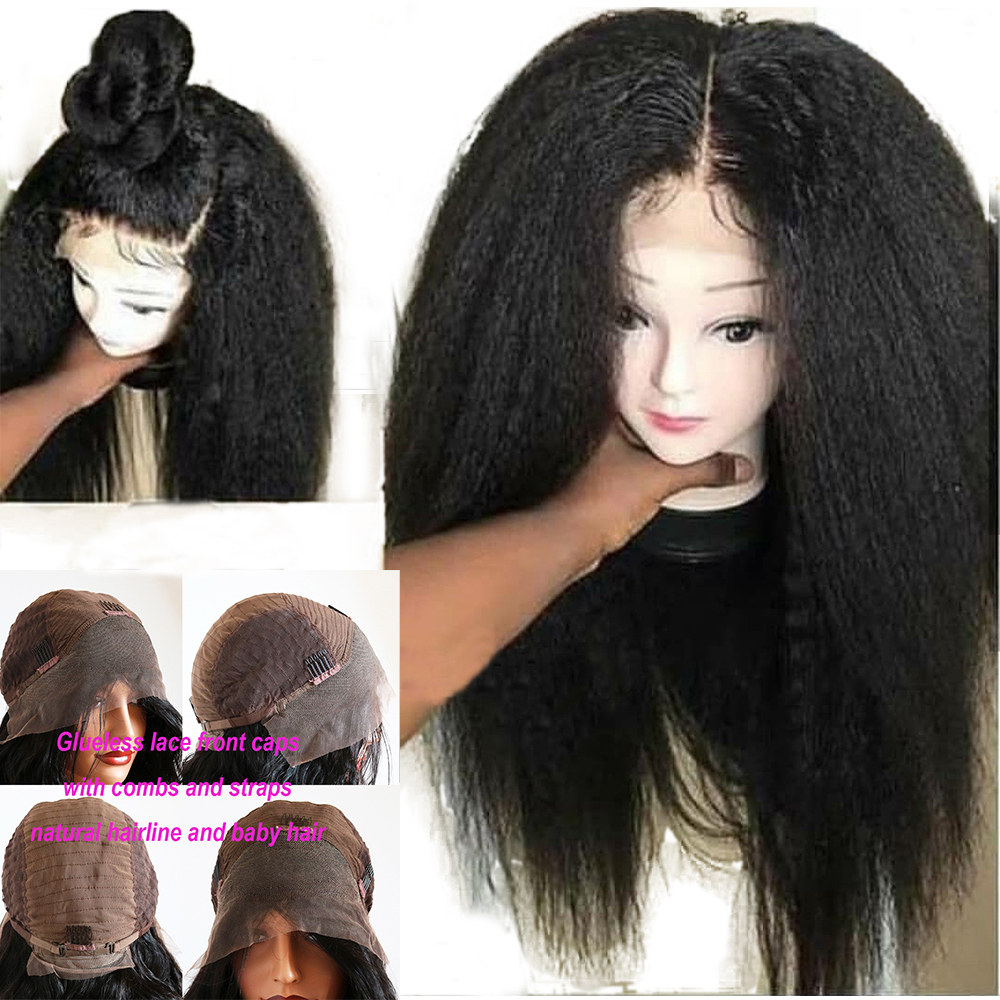 Eversilky Kinky Straight 13x4 Lace Front Human Hair Wig With Baby Hair Pre Plucked Peruvian Remy Transparent Lace Bleached Knots