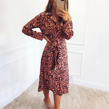 Autumn Long Dress 2019 Fashion Animal Leopard Print Women Dress Elegant Ladies Turn-down Collar Dresses Slim Sexy Party Dress korean kawaii black elegant dress long sleeve button turn down collar autumn dress women s xl sweet simple casual dresses ladies