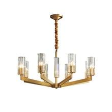American Copper Glass Crystal Chandelier Modern Simple Bedroom Living Room Light Luxury Individual Bar Restaurant Dining