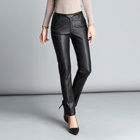 Black Solid Frill Belted Waist Winter Leather Pants Pencil Pants Women Streetwear Korean High Waist Trousers