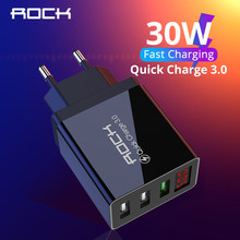 ROCK USB Ladegerät QC 3,0 30W LED Display Quick Charge Telefon EU Wand Adapter Turbo Schnelle Lade Für iPhone 11xr Xiaomi Samsung(China)